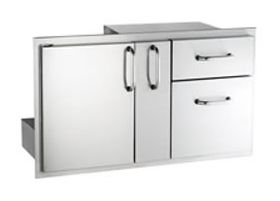 American Outdoor Grill Door with Double Drawer and Plate Storage - 18-36-SSDD