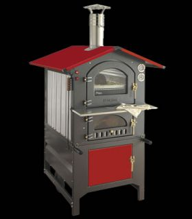 Fontana Forni Rosso 80x54AV (Red) Wood Fired Pizza Oven - 80x54AV